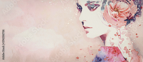 Fototapety, obrazy: Dream. Watercolor abstract portrait of girl. Fashion background.