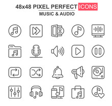 Music And Audio Thin Line Icon Set. Player, Mixer, Equalizer, Headphone, Loudspeaker, Record, Microphone Unique Icons. Outline Vector Bundle For UI UX Design. 48x48 Pixel Perfect Linear Pictogram Pack