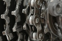 Closeup Of A Bicycle's Gear Set With Chain