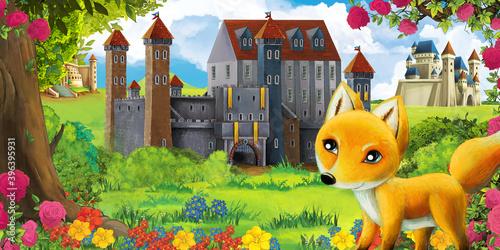Fototapeta premium Cartoon garden scene with beautiful castle near the forest with forest animal