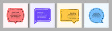 Vector Minimalist Posters Set. Quote Frames Blank Templates Set. Isolated Textbox. Text In Brackets. Citation Empty Speech Bubbles. Color Background. Simple Doodle Shapes. Social Media Template