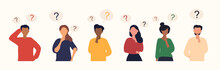 Collection Of Diverse Thoughtful People. Six Smart Men And Women Thinking Or Solving Problem. Set Of Pensive Boys And Girls Surrounded By Thought Bubbles. Flat Cartoon Vector Illustration.