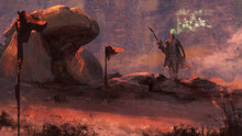 Digital Painting Of A Futuristic Bounty Hunter Holding A Sniper Rifle Walking In The Desert - Fantasy Sci-fi Illustration