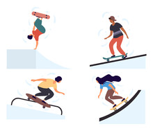 Set Of Teenage Boys And Girls Skateboarders Riding Skateboard. Young Men, Women Skateboarding. Male And Female Cartoon Characters Isolated On White Background. Flat Cartoon Vector Illustration