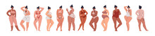 A Collection Of Plump Girls. A Large Set Of Hand-drawn Diverse Young Plus Size Women In Nude Swimwear And Pregnant Women. Vector Stock Illustration Isolated In Cartoon Style.
