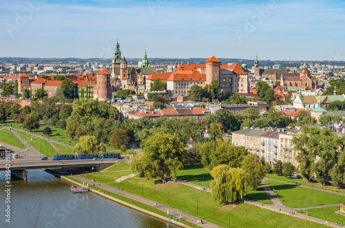 Krakow, Poland, aerial view of the Wawel Castle and Old City Canvas