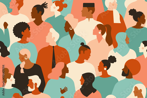 Obraz Crowd of young and elderly men and women in trendy hipster clothes. Diverse group of stylish people standing together. Society or population, social diversity. Flat cartoon vector illustration. - fototapety do salonu