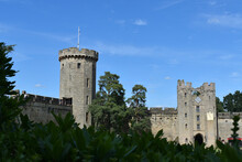 Inner Court View Of The Clock Tower And Guy's Tower Of Warwick Castle, England, UK