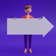 Leinwandbild Motiv Cartoon characters holding an empty white placard for insert a concept.3d rendering,conceptual image.