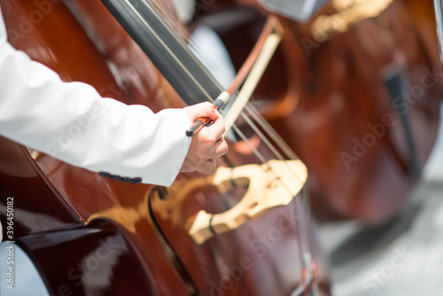 Obraz Double bass player in orchestra performance - fototapety do salonu