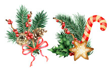 Watercolor Set Of Christmas And New Year Decor. Bouquets Of Spruce, Holly, Ilex, Bow And Caramel Cane. Isolated On White Background. Drawn By Hand.