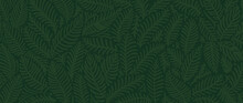 Luxury Nature Green Background Vector. Floral Pattern, Golden Split-leaf Philodendron Plant With Monstera Plant Line Arts, Vector Illustration.
