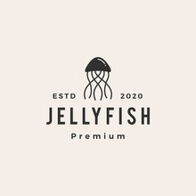 Jelly Fish Hipster Vintage Logo Vector Icon Illustration