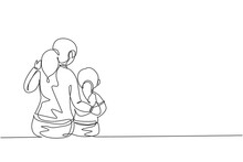 Single Continuous Line Drawing Of Young Mother Talking With Her Daughter About Goal And Education At Home. Happy Family Parenting Concept. Trendy One Line Draw Graphic Design Vector Illustration