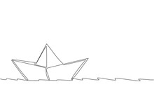 One Continuous Line Drawing Of Paper Boat Sailing On The Water River. Origami Craft Concept. Dynamic Single Line Draw Design Vector Graphic Illustration