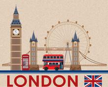 Big Ben London On Brown Postcard Paper