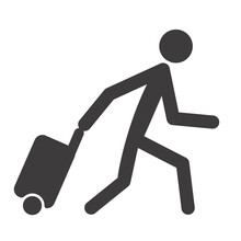 Man With Luggage. Icon. Tourist With Rolling Bag. Vector Illustration