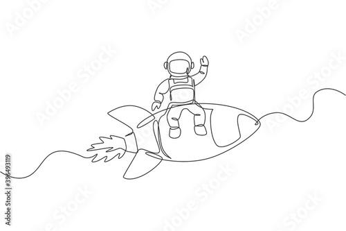 jeden-ciagly-rysunek-kosmonauty-ktory-macha-reka-i-siedzi-na-latajacej-rakiecie-kosmonauta-eksploracja-koncepcji-kosmosu-dynamiczna-pojedyncza-linia-rysowac-projekt-graficzny-ilustracji-wektorowych