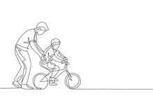 One Continuous Line Drawing Of Young Father Help His Boy Kid Learning To Ride A Bicycle At Countryside Together. Parenthood Lesson Concept. Dynamic Single Line Draw Design Graphic Vector Illustration