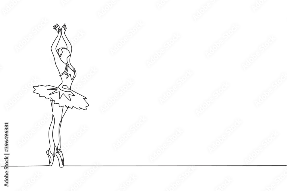Fototapeta One continuous line drawing of young graceful woman ballet dancer perform beauty classic dance at stage of opera house. Ballet performance concept. Dynamic single line draw design vector illustration
