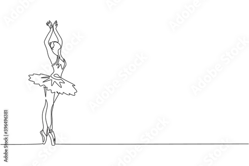 Valokuva One continuous line drawing of young graceful woman ballet dancer perform beauty classic dance at stage of opera house