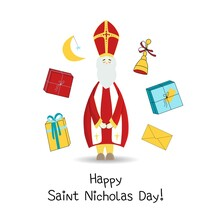 Vintage Collection With St Nicholas Day Stickers. Holiday Greeting. Vector Template Collection. Vector Design Element. Celebration, Design, Vector. White Background