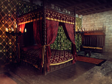 Fantasy Medieval Bedroom With A Large Bed With Curtains, Candles And Old Furniture. 3D Render.