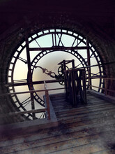 Fantasy Scene With A Clock Mechanism Inside An Old City Tower Clock. 3D Render.