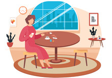 Board Games Flat Design Concept With Woman Holding A Card In Hand Moving Chip On Playing Table Vector Illustration. Family Games At Home In The Evening, The Woman Is Resting In The Room Alone