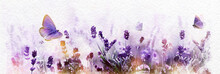 Watercolor Purple Blossoming Lavender And Flying Butterfly In Nature Panorama.