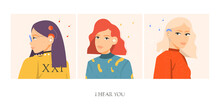 Set Of Beautiful Women With Different Types Of Hearing Aids. Flat Vector Illustration.