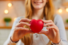 Happy Woman Holding Red Heart As Symbol Of Love, Valentine Presents, Charity And Care