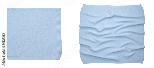 Foto Baby blue blanket newborn isolated on white background. Top view