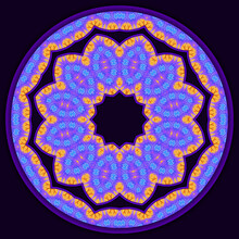 Decorative Fractal Mandala - Flower With 3d Effect And Blurred Texture