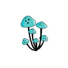Magic Blue Mushroom Isolates On White Background. Fantasy Poisonous Mushroom. Cartoon Style. Line Art Vector Illustration With Magical Simple Amanita