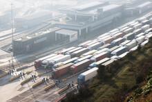 Queue Of Trucks At UK Docks