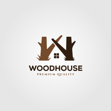 Wooden House Logo Vector Symbol Illustration Design