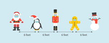 Social Distance Concept With Christmas Characters Or Toys. Covid-19 Virus Pandemic Prevention. Vector