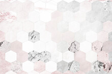 Hexagon Pink Marble Tiles Patterned Background