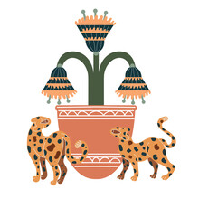 Vector Leopards. Boho Style. Animals For Creating Fashion Prints, Postcard, Wedding Invitations, Banners, Arrangement Illustrations, Books