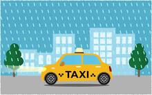 豪雨の中、ライトを点けて都市の道路を進む黄色いタクシーのベクターイラスト