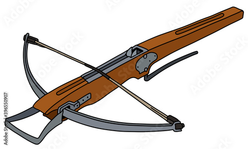 The vectorized hand drawing of a historical wooden crossbow Fototapete