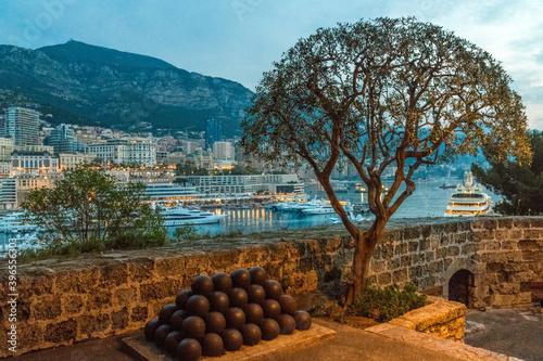 Canvas Print Fort Saint Antoine au coucher de soleil à Monaco