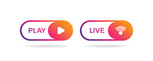 Live Play Button Collection, Social Media Buttons Livestream Broadcasting Graphic Element Vector Illustration.