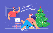 Merry Christmas Congratulation Via Video Call. Concept Vector Illustration Of Young Woman Sitting With Laptop Near Xmas Tree And Talking To Her Friend Via Video Call. Online Holiday Greetings