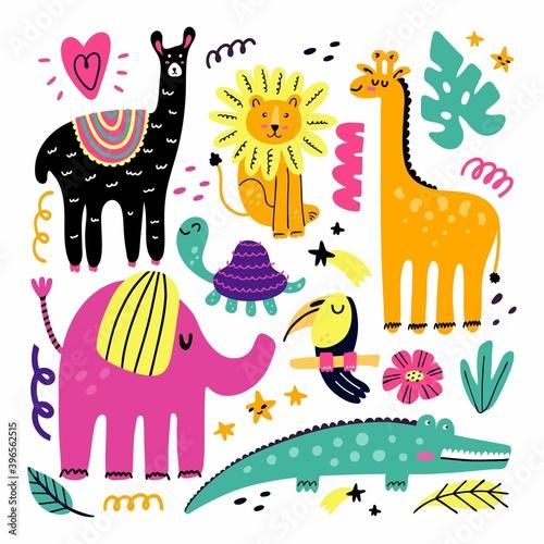 Fototapeta premium Doodle animals. Animal collection in minimalist style, funny llama, lion and giraffe, pink elephant, toucan bird and crocodile, tropical kids cartoon vector set for nursery, cards and print decor
