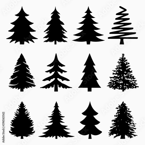 Leinwand Poster Christmas Tree Silhouette