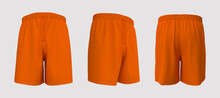 Blank Sweat Shorts Mockup In Front, Back And Side Views. 3d Rendering, 3d Illustration.