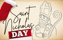 Scroll, Portrait, Calendar And Stockings For Saint Nicholas Day Celebration, Vector Illustration