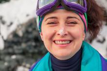 Portrait Of Pretty Woman In Ski Goggles
